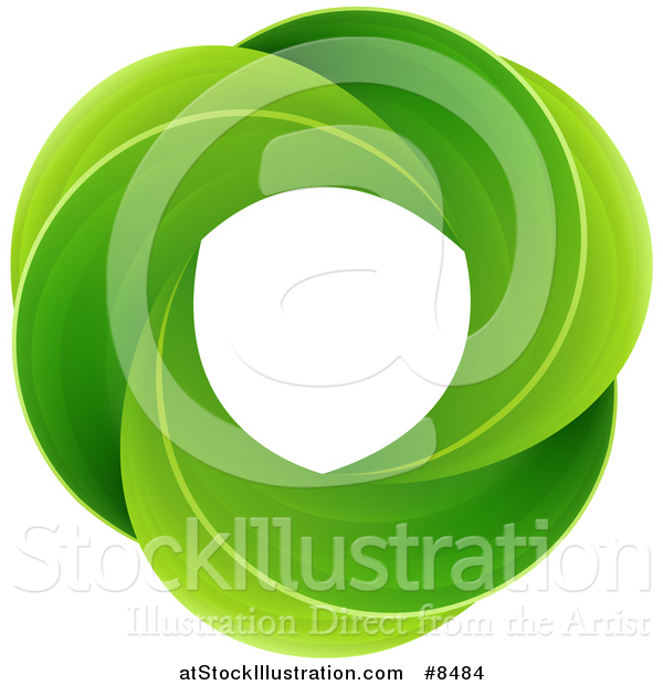 Vector Illustration of a Circle of Green Leaves
