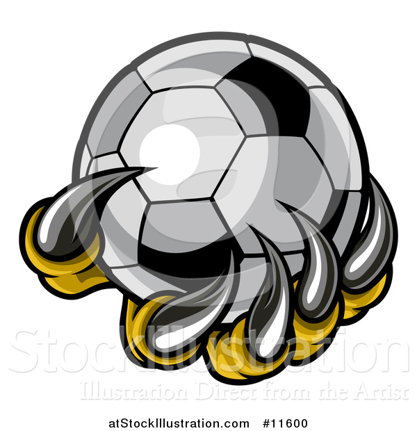 Vector Illustration of a Clawed Creature Holding a Soccer Ball
