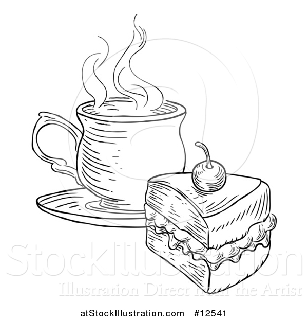 Vector Illustration of a Coffee and Piece of Victoria Sponge Cake, Black and White Engraved Style