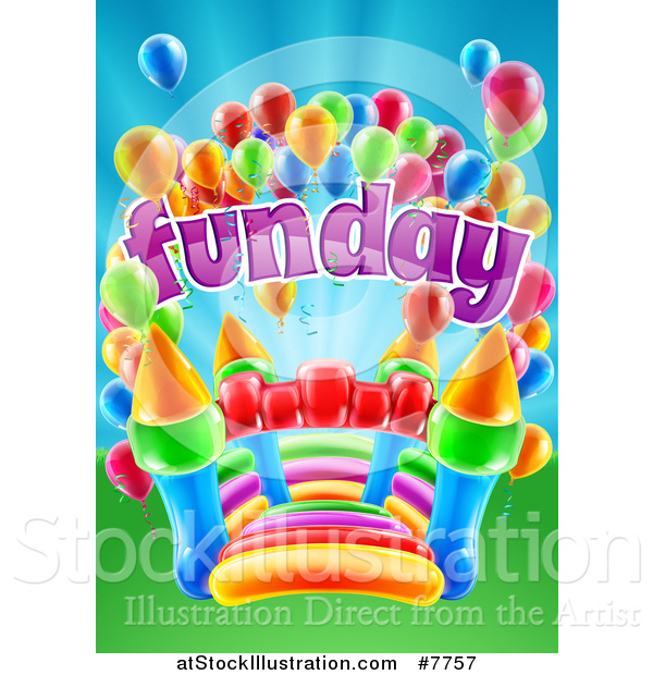 Vector Illustration of a Colorful Bouncy Castle Jumping House with Party Balloons and Fun Day Text