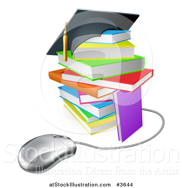 Vector Illustration of a Colorful Stack of Books with a Graduation Cap and Computer Mouse