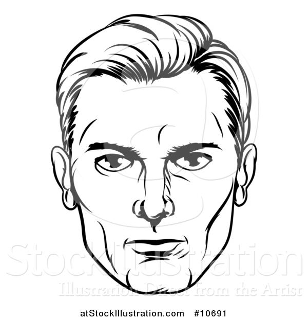 Vector Illustration of a Comic Styled Black and White Man's Face