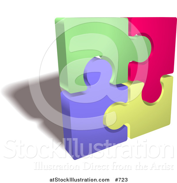 Vector Illustration of a Completed Colorful Jigsaw Puzzle