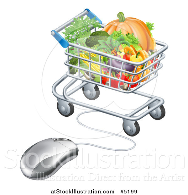 Vector Illustration of a Computer Mouse and Cart of Produce