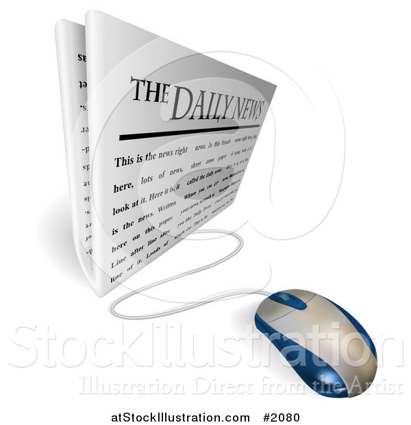 Vector Illustration of a Computer Mouse Connected to a Daily Newspaper