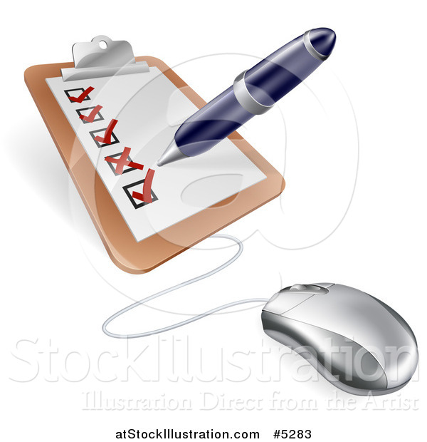 Vector Illustration of a Computer Mouse Connected to a Survey Clipboard