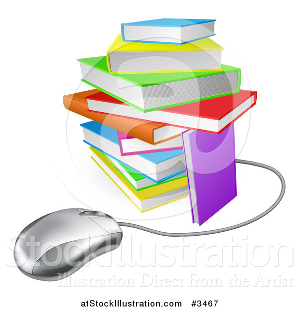 Vector Illustration of a Computer Mouse Wired to a Colorful Stack of Books