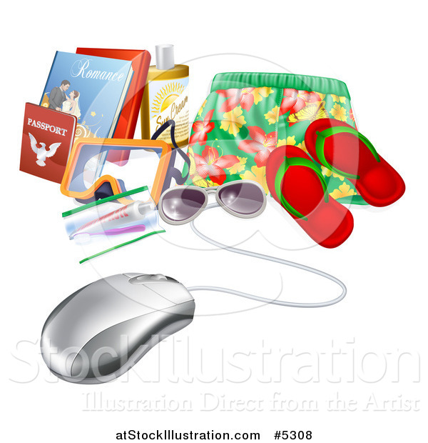 Vector Illustration of a Computer Mouse Wired to Travel Items