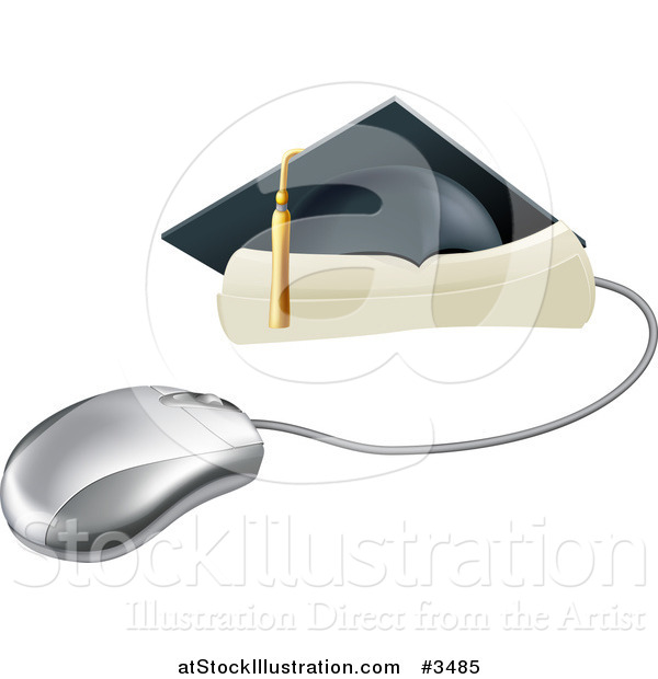 Vector Illustration of a Computer Mouse with a Graduation Cap and Diploma
