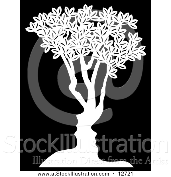 Vector Illustration of a Concept White Tree with Black Male and Female Facing Each Other