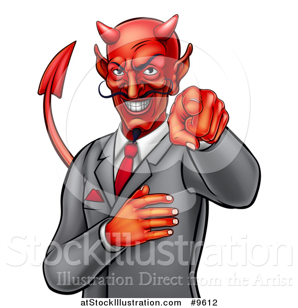 Vector Illustration of a Corrupt Devil Businessman Pointing Outwards, from the Waist up