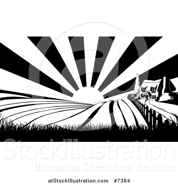 Vector Illustration of a Cottage Farm House on a Hill with the Sunrise and Fields in Black and White