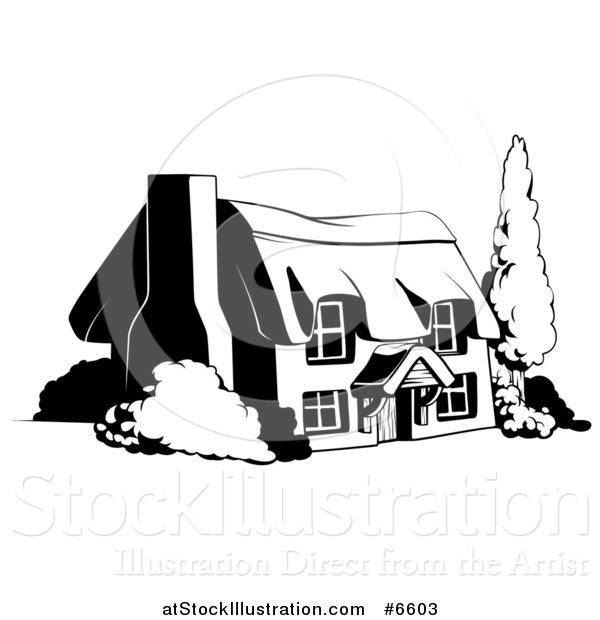 Vector Illustration of a Country Cottage House in Black and White