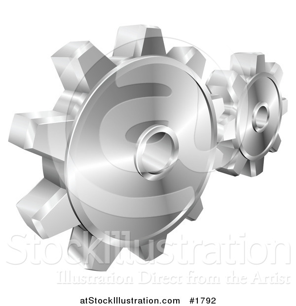 Vector Illustration of a Couple of Shiny Metallic Gear Cog Wheels