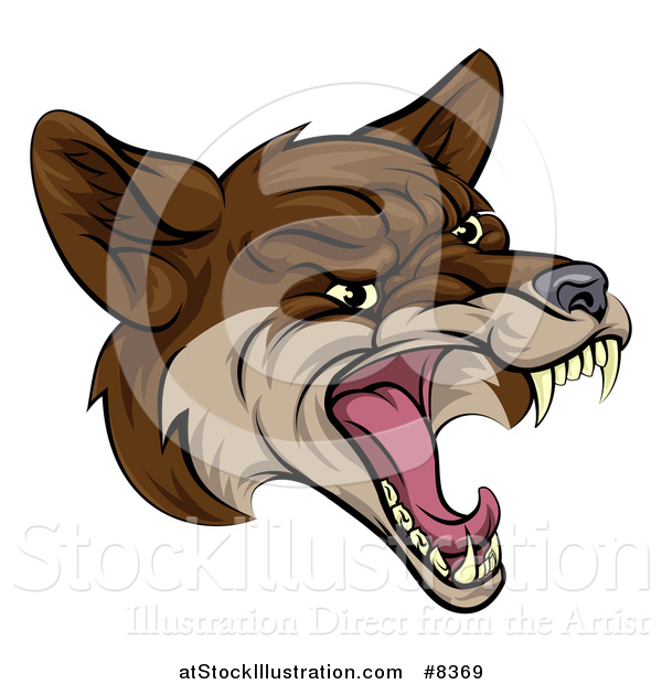 Vector Illustration of a Coyote Mascot Head Howling