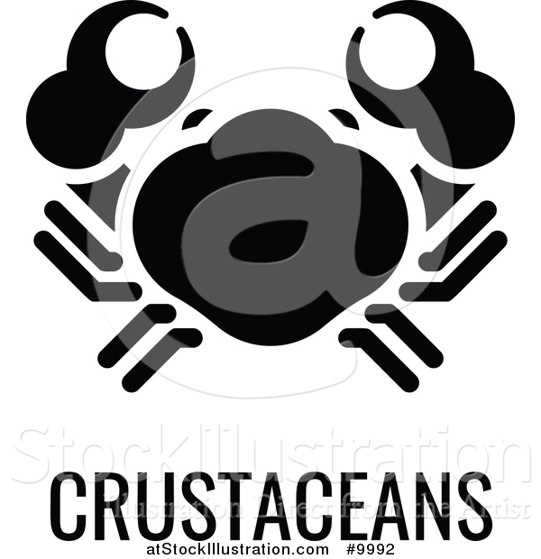 Vector Illustration of a Crab over Crustaceans Text