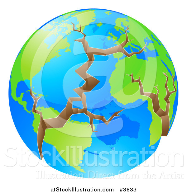 Vector Illustration of a Cracking World in Crisis