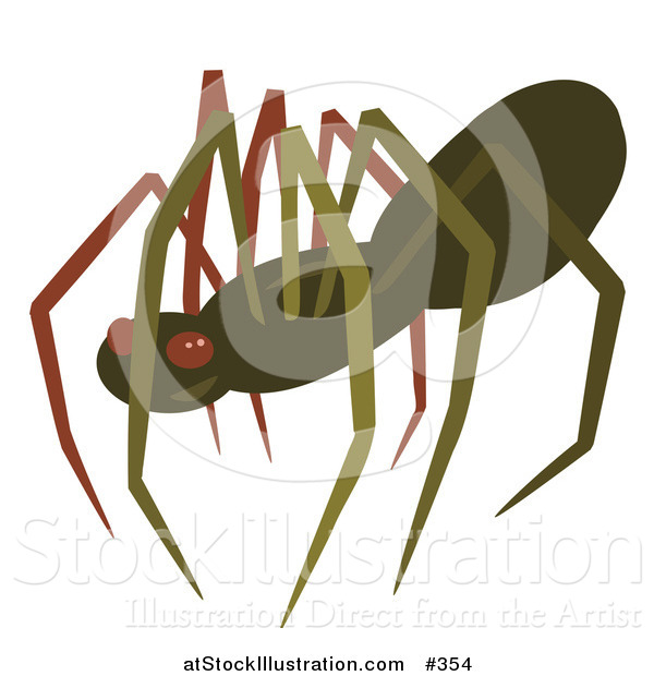 Vector Illustration of a Creepy Brown Spider