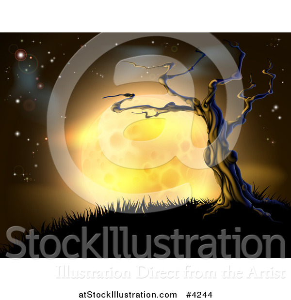 Vector Illustration of a Creepy Dead Tree on a Hill Against a Full Yellow Moon and Night Sky