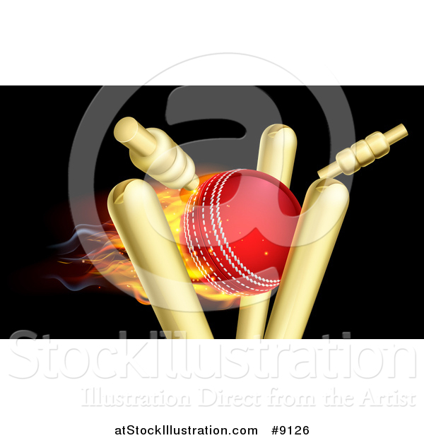 Vector Illustration of a Cricket Ball Breaking Wicket Stumps on Black