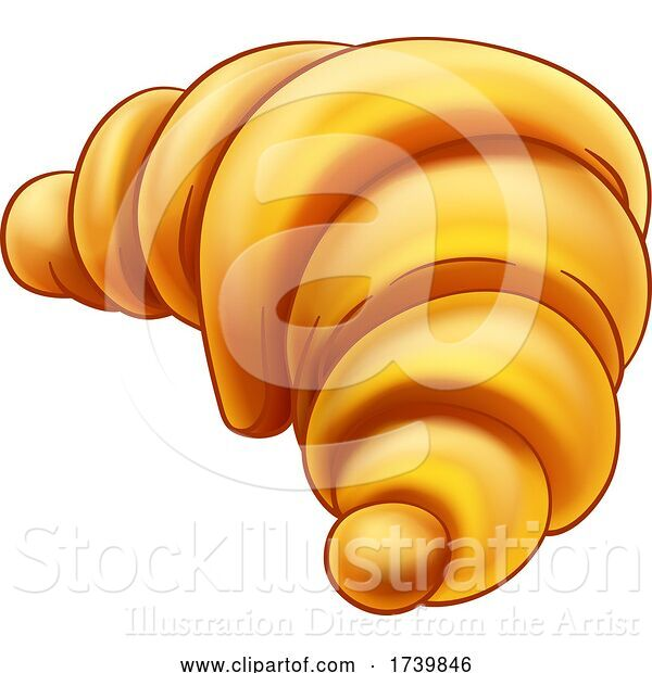 Vector Illustration of a Croissant Pastry Bread Food Drawing Illustration