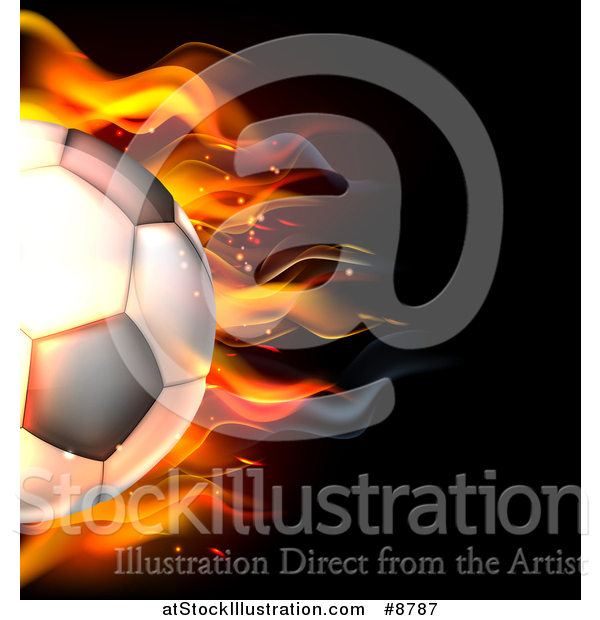 Vector Illustration of a Cropped 3d Flaming Soccer Ball Flying over Black