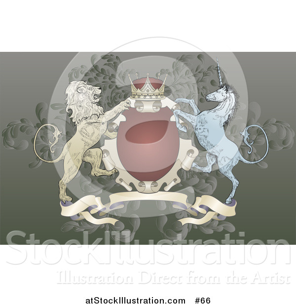 Vector Illustration of a Crown, Lion, and Blue Unicorn on a Coat of Arms