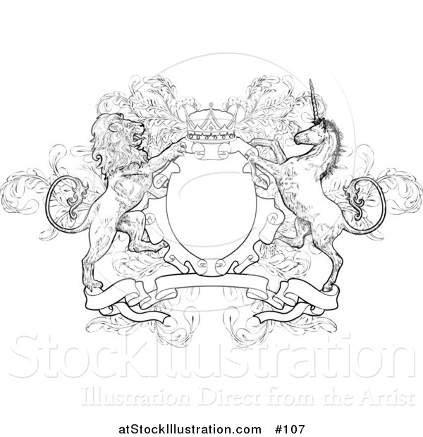 Vector Illustration of a Crown, Lion, and Unicorn on a Coat of Arms - Black and White Version