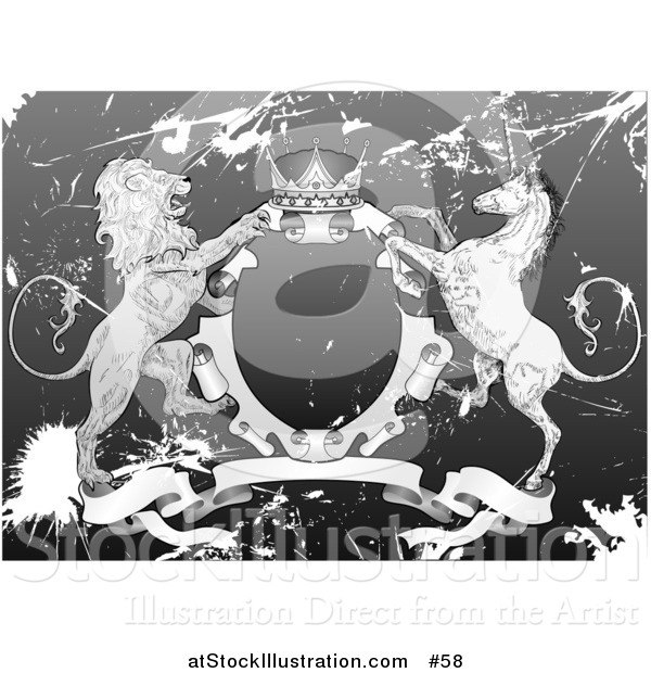 Vector Illustration of a Crown, Lion, and Unicorn on a Coat of Arms in Grunge