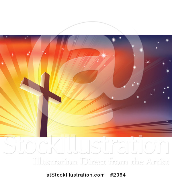 Vector Illustration of a Crucifix Against a Shining Colorful Sky