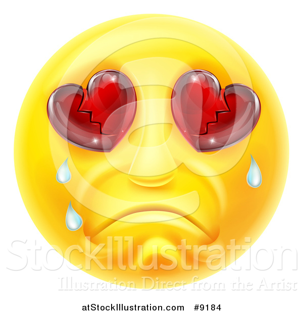 Vector Illustration of a Crying Yellow Smiley Face Emoji Emoticon with Broken Heart Eyes