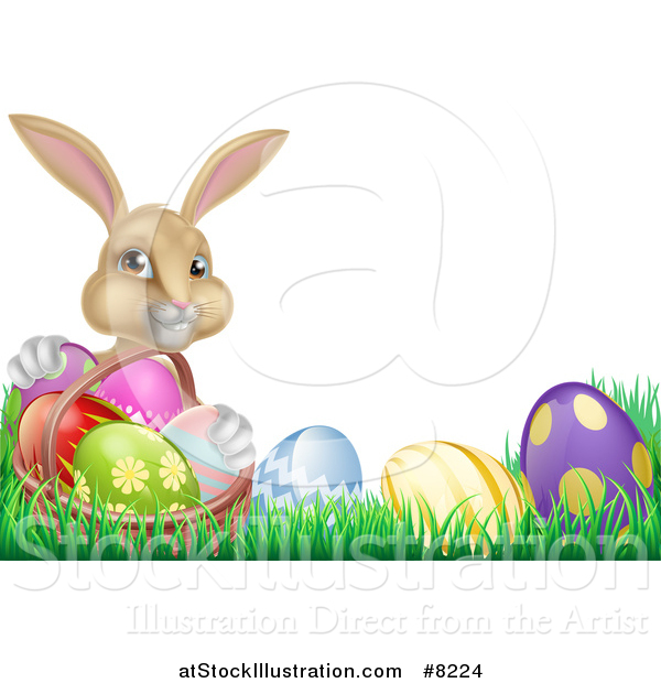 Vector Illustration of a Cute Beige Bunny Rabbit with a Basket and Easter Eggs in Grass, with Text Space
