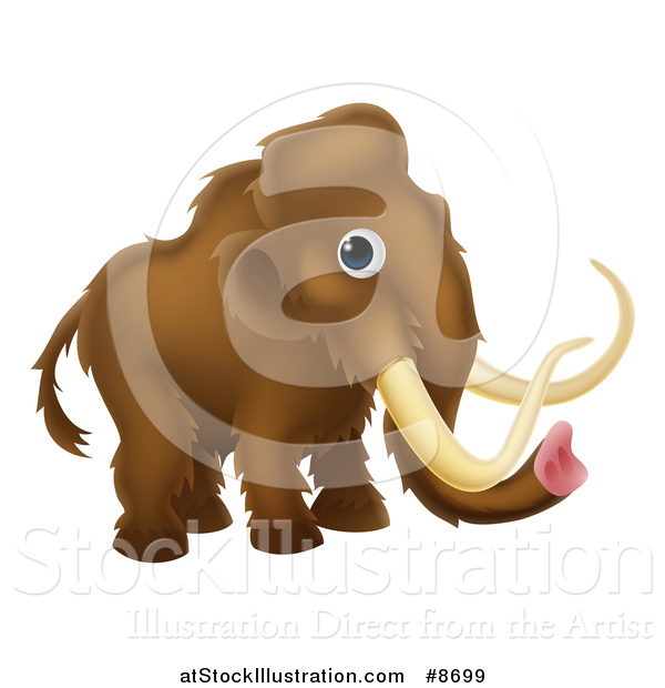 Vector Illustration of a Cute Brown Baby Woolly Mammoth