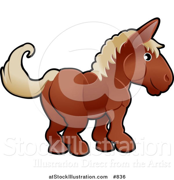Vector Illustration of a Cute Brown Horse with Tan Hair