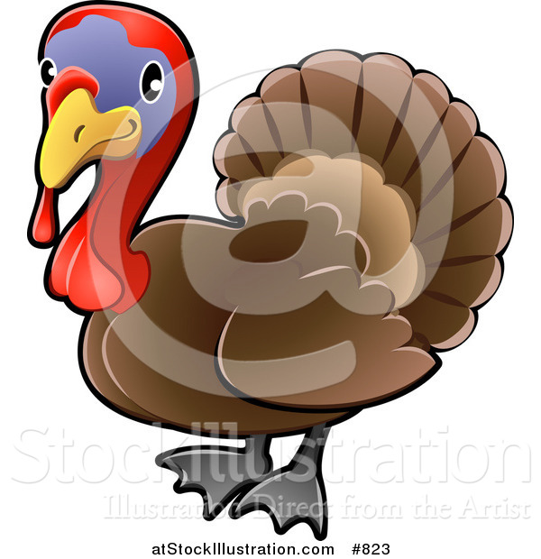 Vector Illustration of a Cute Brown Turkey Bird with a Purple Face and Red Wattle and Snood