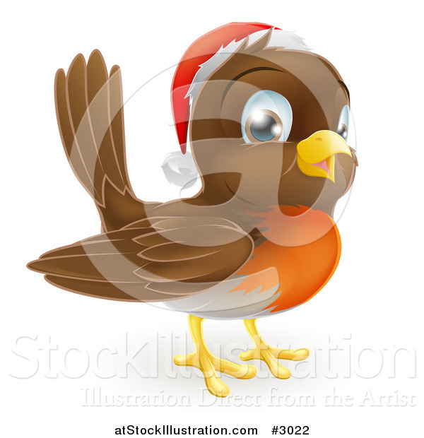 Vector Illustration of a Cute Christmas Robin Wearing a Santa Hat