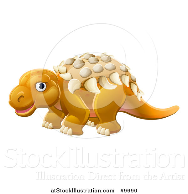 Vector Illustration of a Cute Edmontonia Dinosaur
