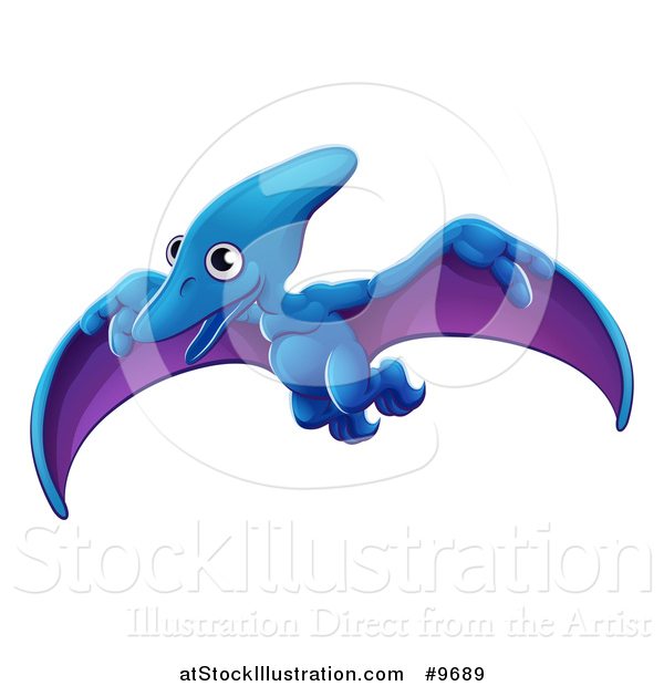 Vector Illustration of a Cute Flying Pterodactyl Dinosaur