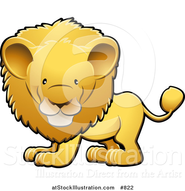 Vector Illustration of a Cute Golden Male Lion with a Big Mane