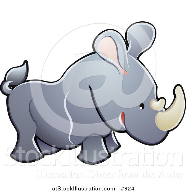 Vector Illustration of a Cute Gray Rhino with Pink Ears and White Horns