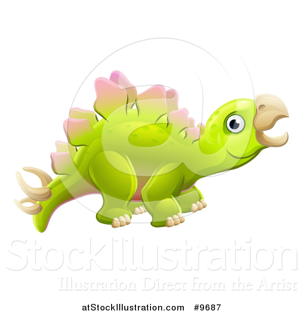 Vector Illustration of a Cute Green Stegosaurus Dinosaur