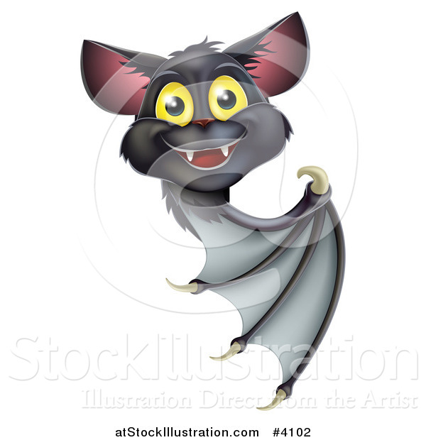 Vector Illustration of a Cute Happy Vampire Bat Looking Around and Pointing at a Sign