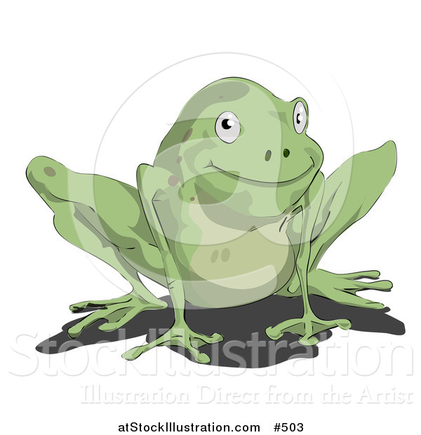 Vector Illustration of a Cute Little Green Frog