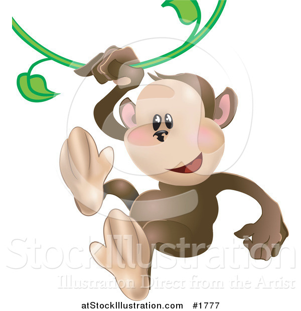 Vector Illustration of a Cute Monkey Swinging on a Green Vine