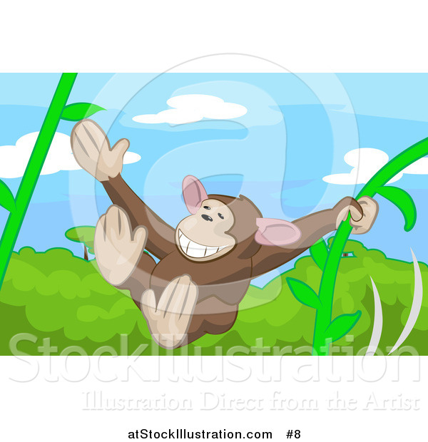 Vector Illustration of a Cute Monkey Swinging on Vines in a Forest