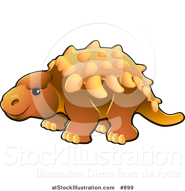 Vector Illustration of a Cute Orange Armored Dinosaur with Spikes Along Its Back