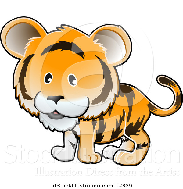 Vector Illustration of a Cute Orange Tiger with Black Stripes