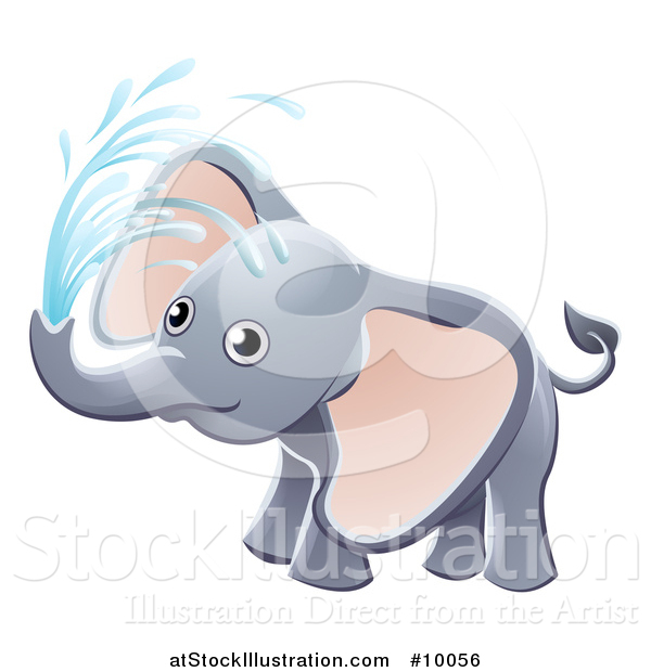 Vector Illustration of a Cute Playful Baby Elephant Spraying Water