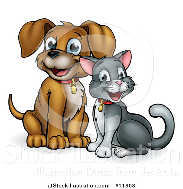 Vector Illustration of a Cute Puppy Dog and Cat Sitting
