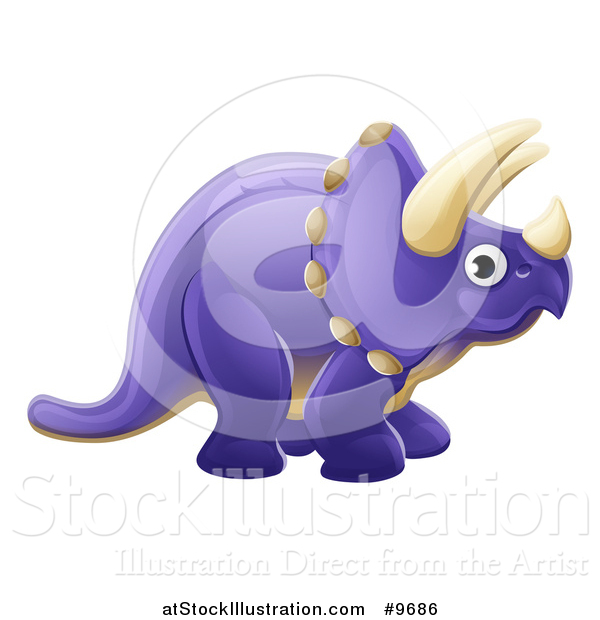 Vector Illustration of a Cute Purple Triceratops Dinosaur